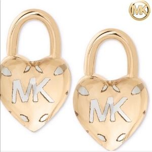 Michael Kors Gold Heart Padlock Earrings